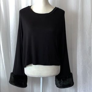 Altar'd State Crop Blouse with FauxFur Sleeve Hem